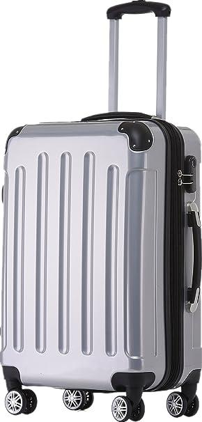 Beibye 2048 - Juego de maletas de viaje rígidas con ruedas, tamaños M-L-XL, en 17 colores Plateado plata medium: Amazon.es: Equipaje