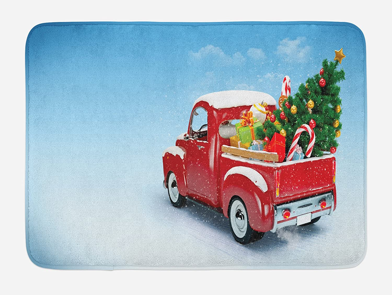 "Ambesonne Christmas Bath Mat, Red Classical Pickup Truck with Tree Gifts and Ornaments Snowy Winter Day Image, Plush Bathroom Decor Mat with Non Slip Backing, 29.5"" X 17.5"", Blue Red"