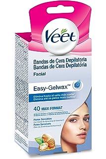 Veet Bandas de Cera Depilatoria Facial - Pieles Sensibles - Easy Gelwax, 40 bandas