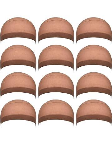 12 Piezas Gorros de Peluca de Nylon para Mujeres y Hombres (Marrón Claro)