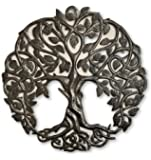 Tree of Life Metal Wall Art, Contemporary Iron Artwork Decor, Celtic Family Trees, Round Modern Plaque, Handmade in Haiti,Fair Trade Certified