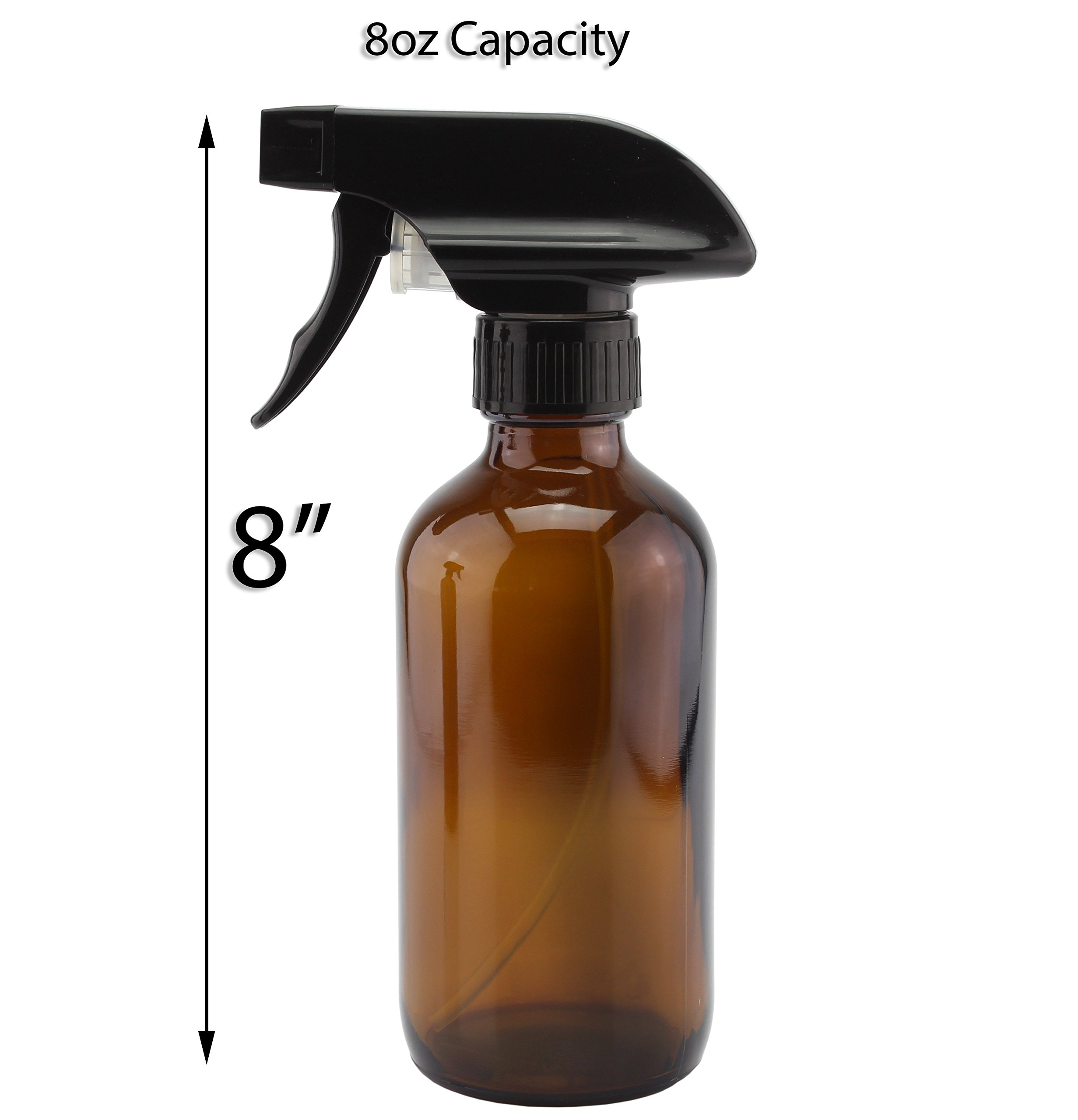 8oz Amber Glass Boston Round Spray Bottles (2 Pack); w/ Heavy Duty Mist & Stream Sprayers Perfect for Essential Oil Blends by Cornucopia Brands (Image #4)