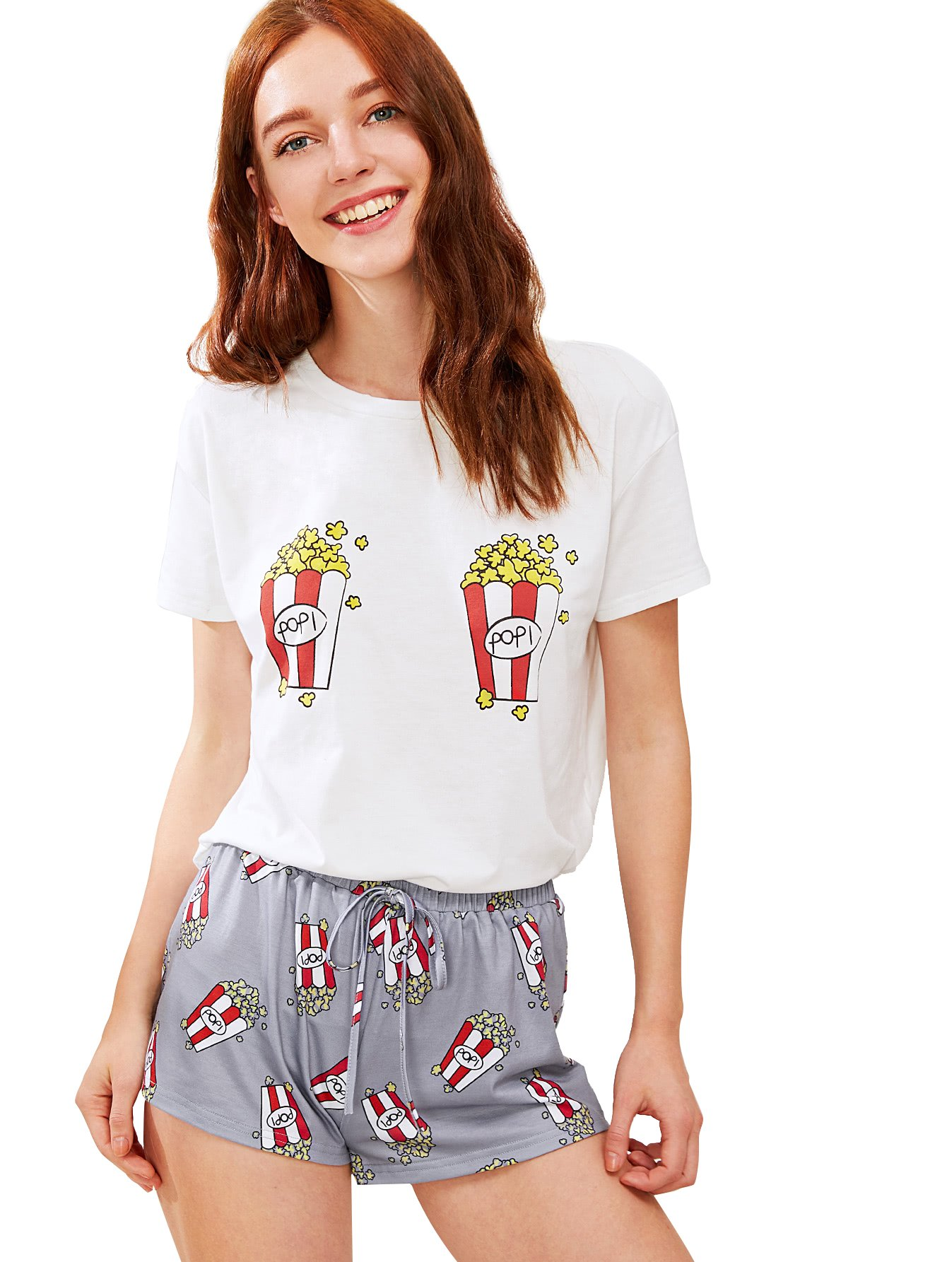 DIDK Women's Cute Cartoon Print Tee and Shorts Pajama Set White XL