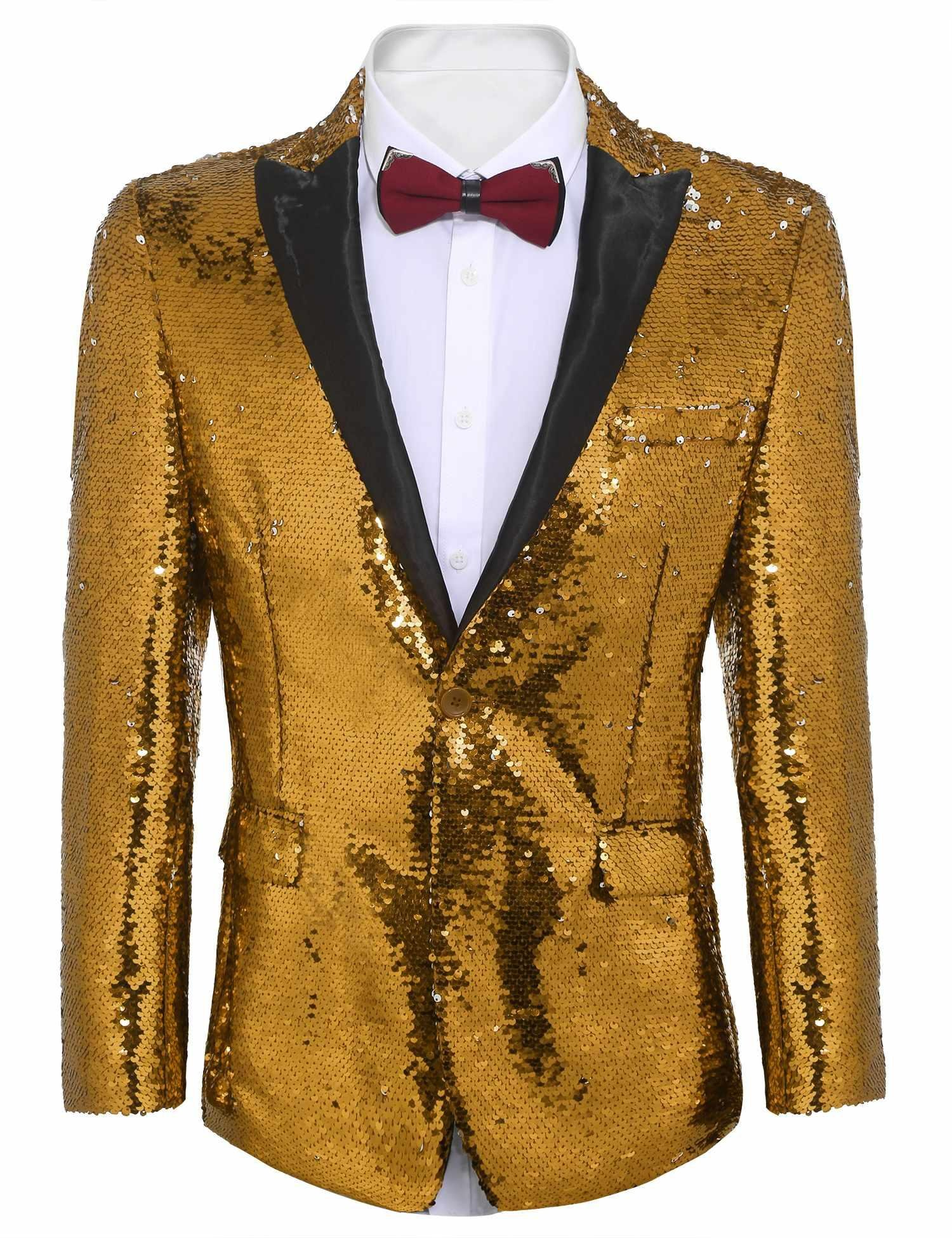 COOFANDY Shiny Sequins Suit Jacket Blazer One Button Tuxedo for Party,Wedding,Banquet,Christmas,Nightclub,Golden Yellow,Medium by COOFANDY