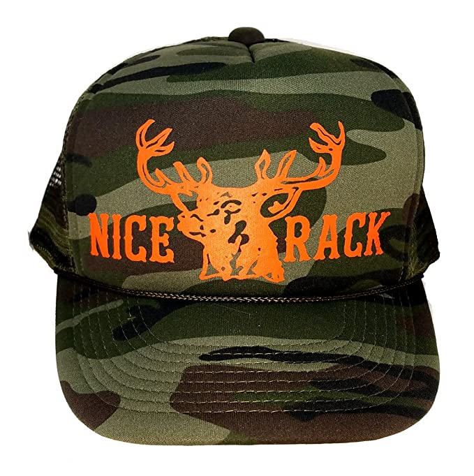 Image Unavailable. Image not available for. Color  Green Camouflage Nice  Rack Blaze Orange Mesh Trucker Hat ... 057df2ce5113