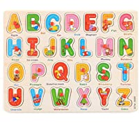 LazyToddler Educational Wooden Alphabets Board for Kids with Knob, A-Z Capital Letters Tray for Toddlers (Alphabet)