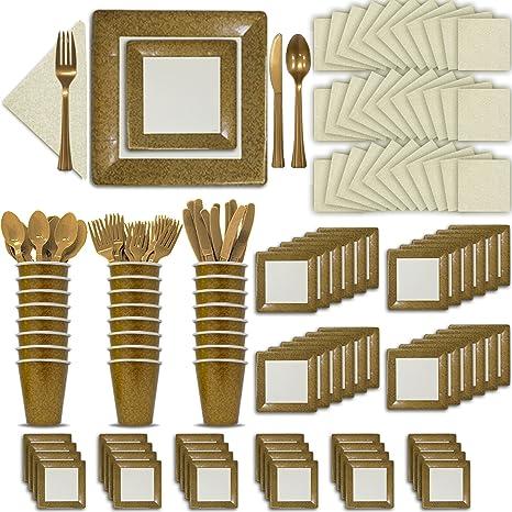 Fancy Disposable Gold u0026 Ivory Dinnerware Set - 24 Guest - 2 Size Square Plates  sc 1 st  Amazon.com & Amazon.com: Fancy Disposable Gold u0026 Ivory Dinnerware Set - 24 Guest ...