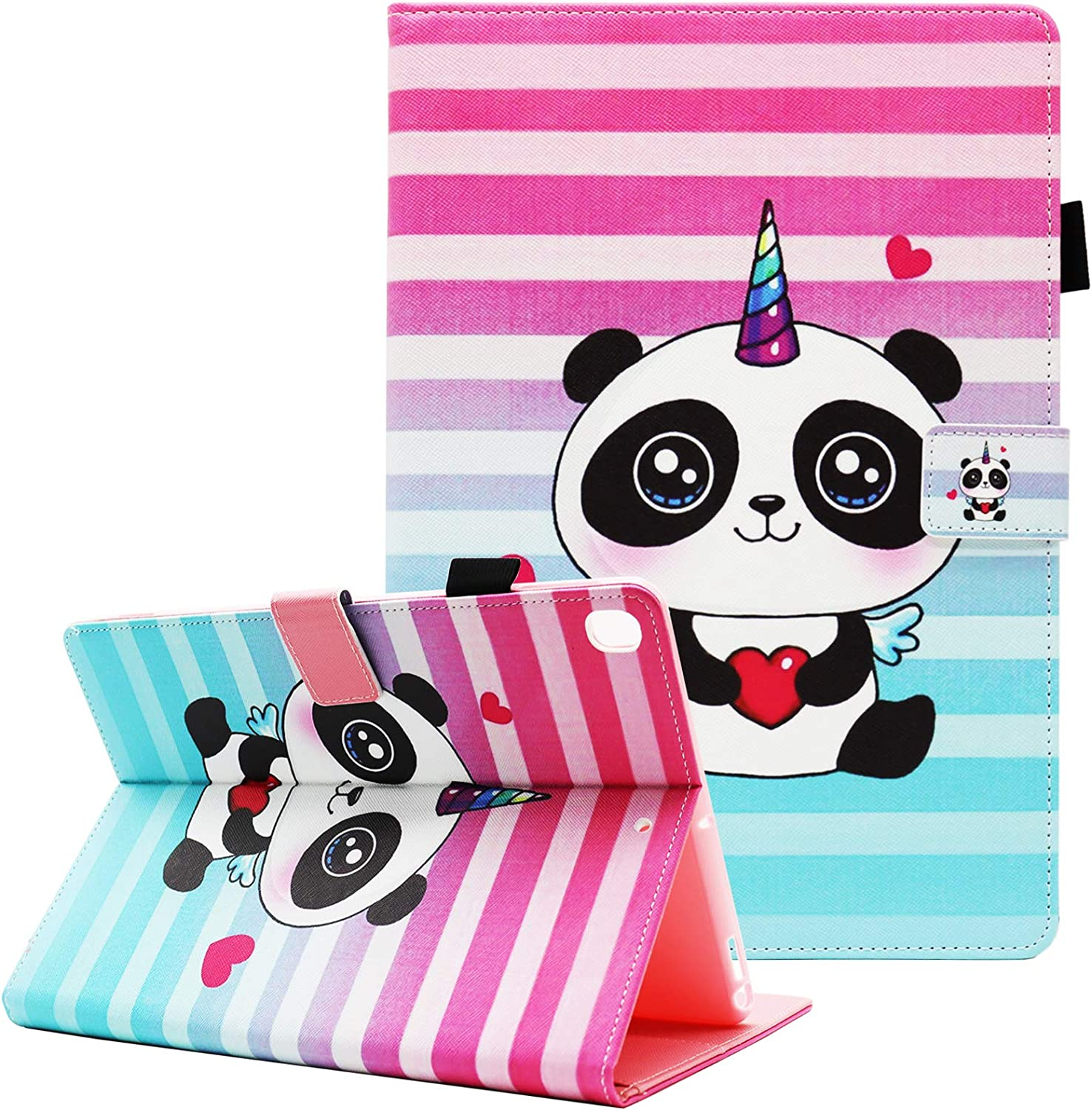 New iPad 10.2 Case 2020 iPad 8th Generation Case, iPad 10.2 Case 2019 iPad 7th Generation Case, Fvimi PU Leather Multi-Angle Folio Smart Stand Cover for iPad 10.2 Inch 8th 7th Gen, Cute Panda