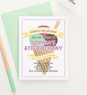 Amazoncom Ice Cream Cone Birthday Party Invitations Set of 10