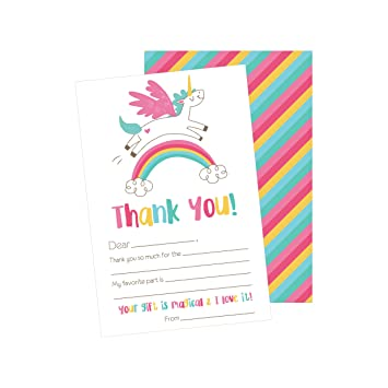 25 Unicorn Kids Thank You Cards Fill In Notes For Kid Blank