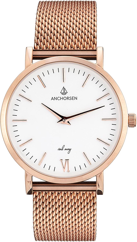 ANCHORSEN Little Journey Maritime Damen-Armbanduhr - Farbe RosÉgold - Schweizer Uhrwerk - Weißes Ziffernblatt -