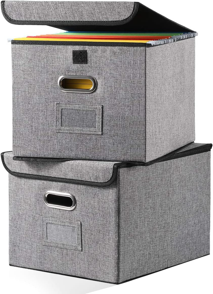 File Organizer Boxes [2-Pack] Collapsible Decorative Linen Storage Hanging Filing Folders with Lids Office Letter Legal Size Gray