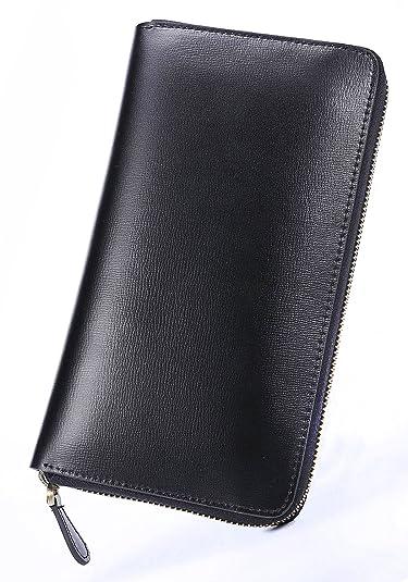5e5568fa7134 Amazon | ブラック F スペイン産 サフィアーノ レザー 長財布 メンズ 財布 本革 ラウンドファスナー 薄型 大容量 ファスナー レディース  サイフ 人気 ブランド なが ...