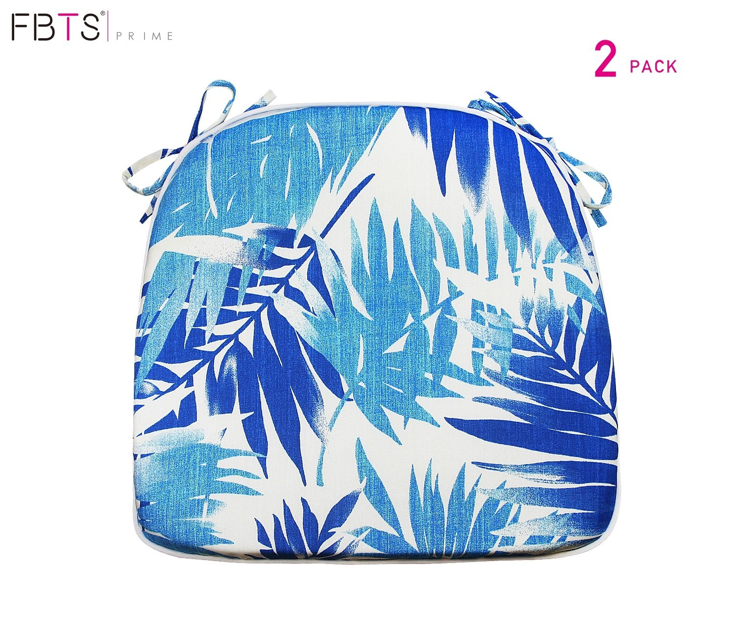 FBTS Prime Outdoor Chair Cushions (Set of 2) 16x17 Inches Patio Seat Cushions Blue Leaf Square Chair Pads for Outdoor Patio Furniture Garden Home Office
