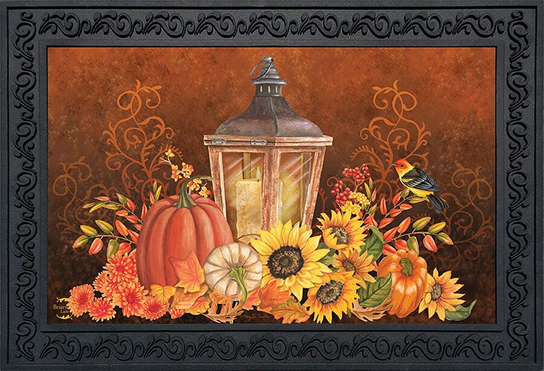 Briarwood Lane Fall Lantern Primitive Doormat Pumpkins Sunflowers Indoor Outdoor 18