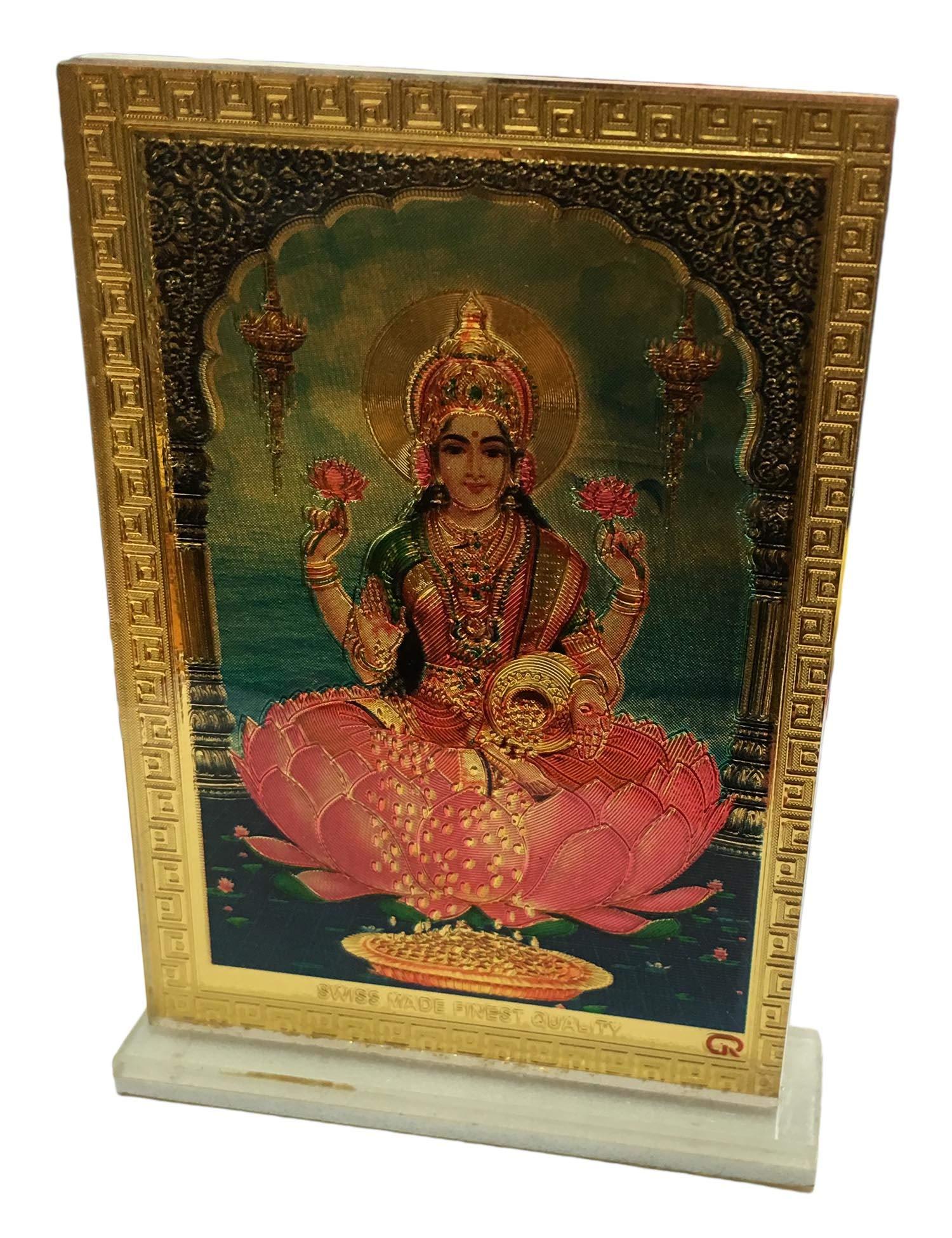 Padma Craft Lakshmi Goddess of Prosperity Desk Dashboard Gold Acrylic Frame Art Hindu Altar Yoga Meditation Accessory Gift