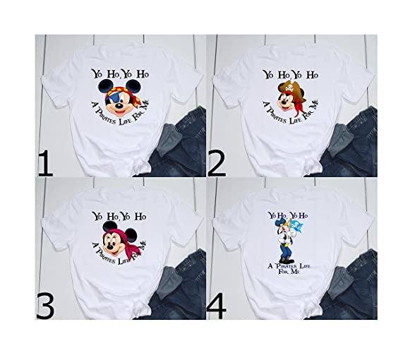 fb0e3c8d1 Amazon.com: Yo Ho Yo Ho A Pirates Life for Me Mickey Minnie Goofy Pirates  of the Caribbean Disney Epcot Printed T-Shirt Unisex, Womens, Toddler:  Handmade