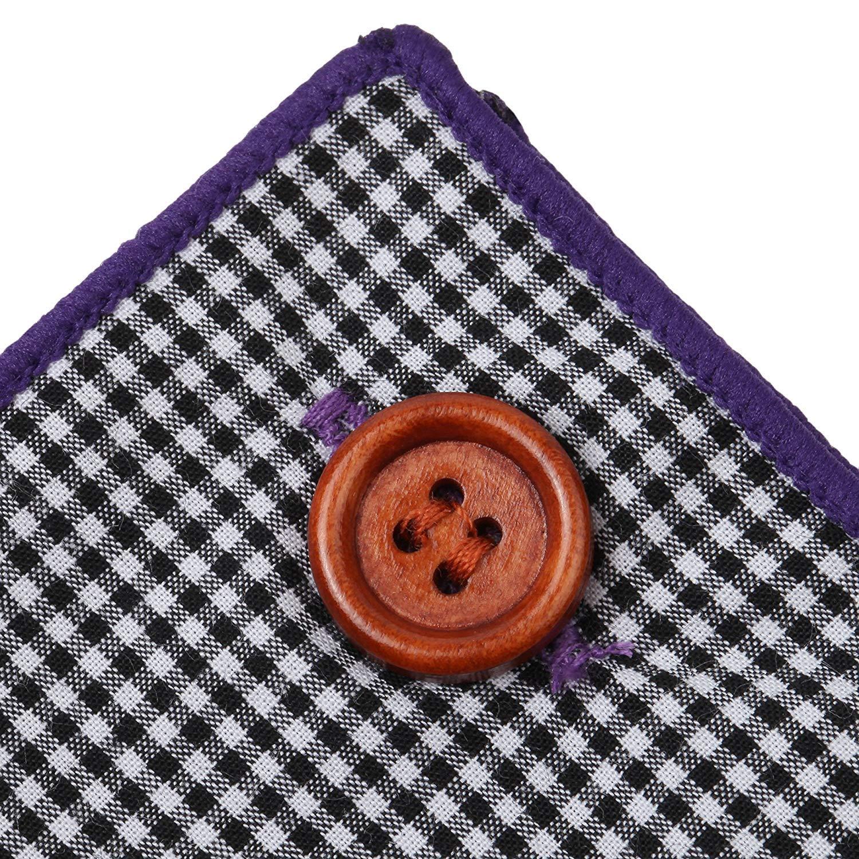 Button Collection Black White Gingham Plaid Purple Border Salt/&Seas Pocket Square Cotton