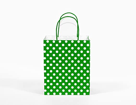 12CT Medium Green Polka DOT Biodegradable, Food Safe Ink & Paper, Premium Quality Paper (Sturdy & Thicker), Kraft Bag with Colored Sturdy Handle ...