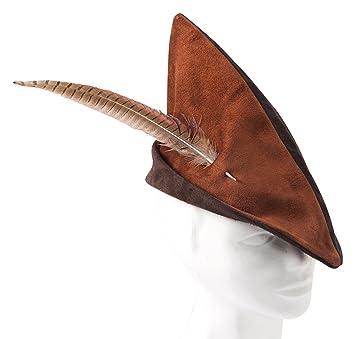 Fantashion K 72 - Pointed Leather Hat - Robin Hood Hat - Red Brown ... f1afba3bb26
