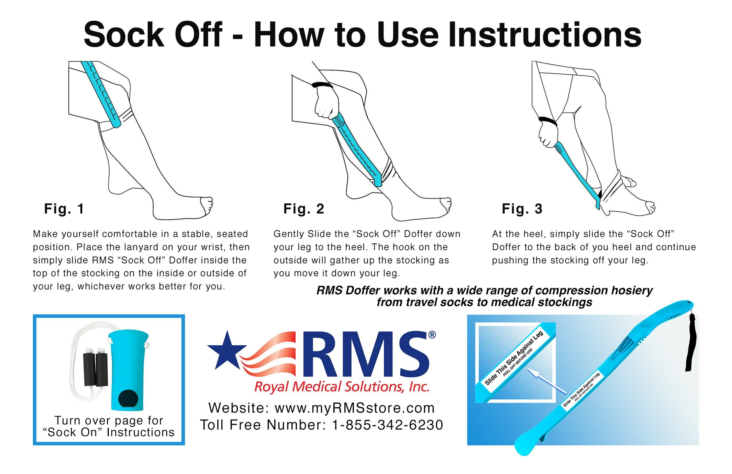 RMS Sock Aid Kit - Sock On Sock Off Device for Putting On and Removing Socks or Compression Stocking for Men and Women with Limited Mobility (Blue) by RMS Royal Medical Solutions, Inc.