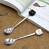 Asmwo Little Cute Ceramic Stainless Steel Cat Spoon Set Black and White Color for Cat Mug Demitasse for Stirring Tea Coffee Espresso Sugar Dessert Funny Spoons,5.7-Inch Pack of 2