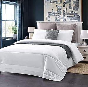 AusGolden Furnishing King Quilted Comforter, Luxurious All-Season Goose Down Wool Comforter Duvet Insert or Stand Alone, Plush Microfiber Fill 100% Australian Wool Washable Alternative Bedding