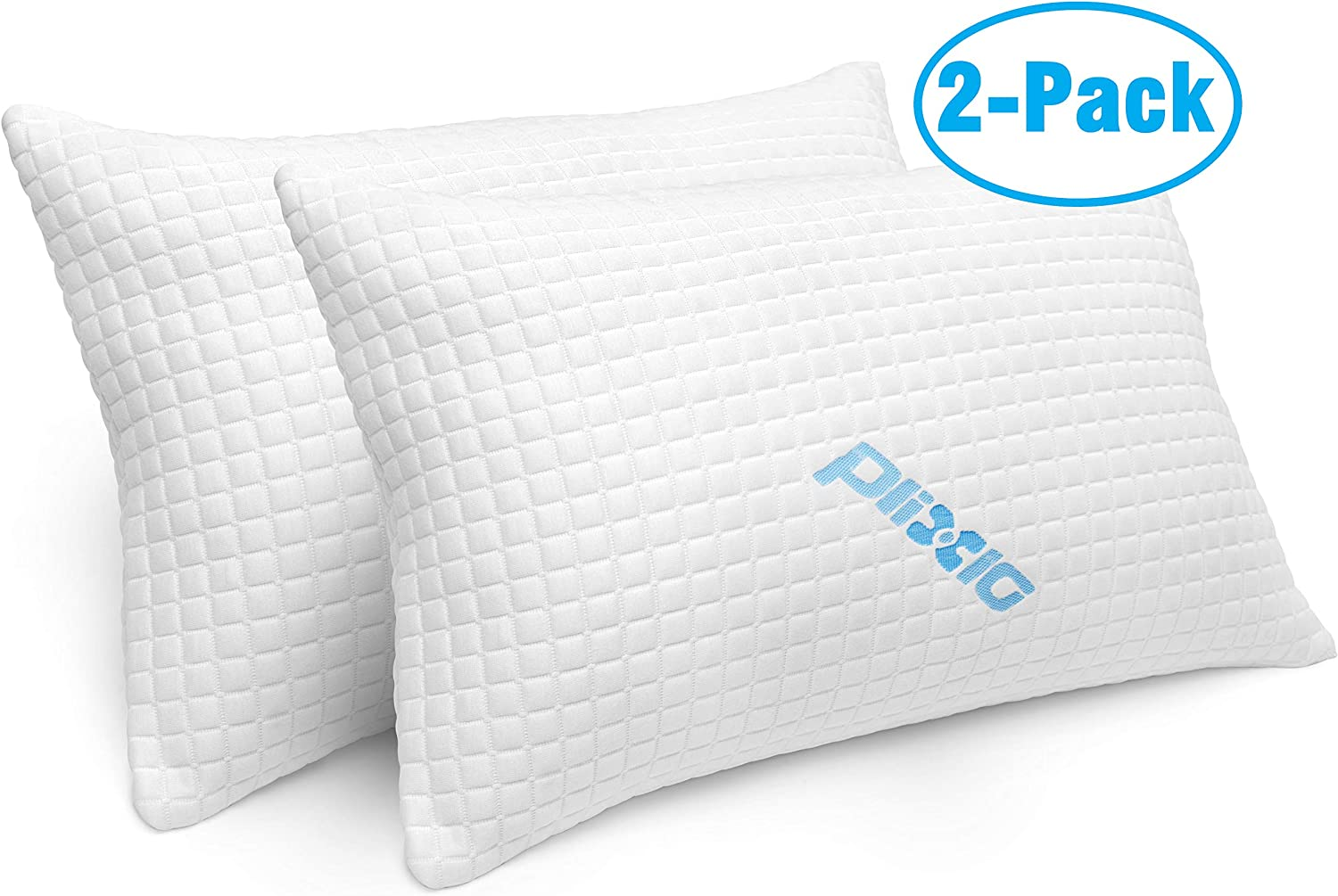 2 Pack Shredded Memory Foam Bed Pillows for Sleeping - Bamboo Cooling Hypoallergenic Sleep Pillow for Back and Side Sleeper - Queen Size: Home & Kitchen