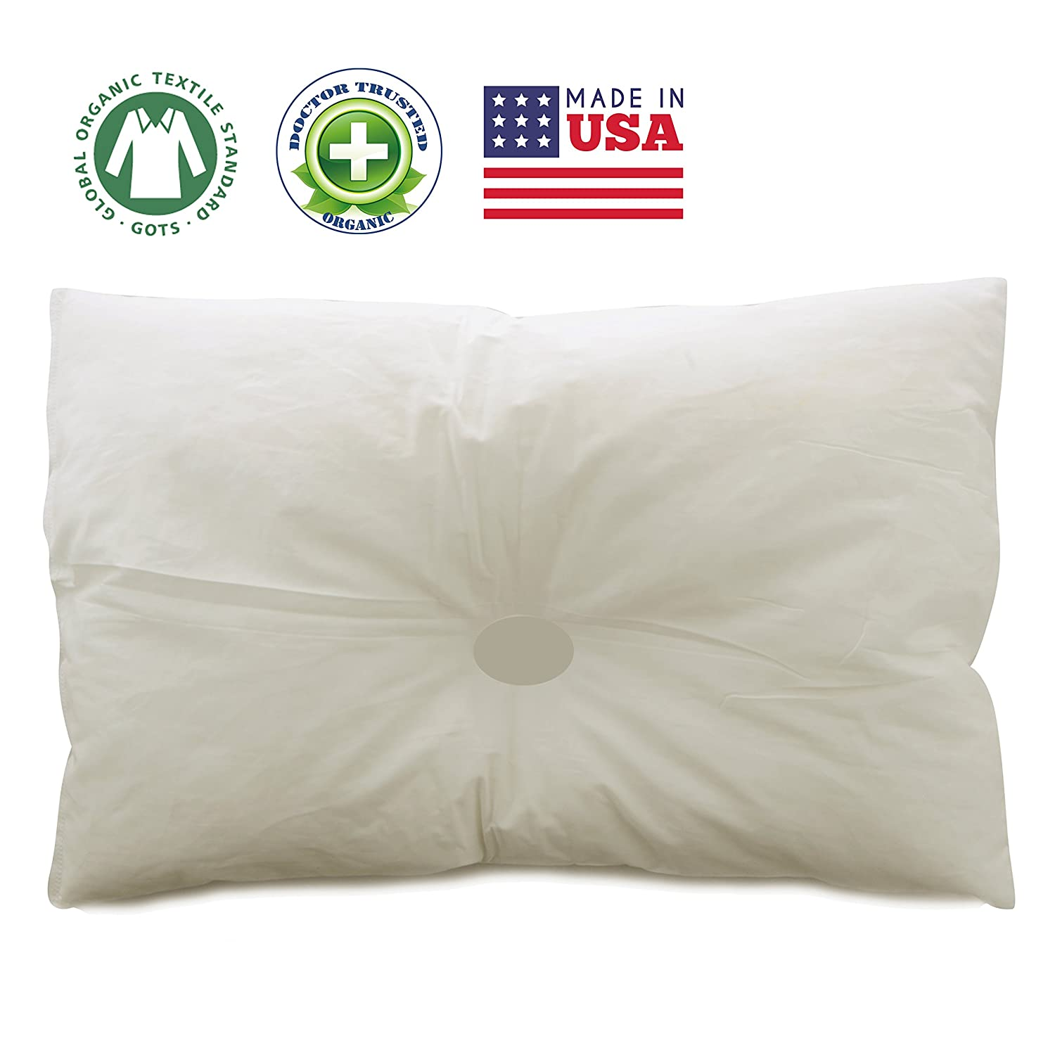 DorDor and GorGor ORGANIC Newborn Pillow 13 X 18 for baby 0 to 3 PLEASE WASH IT AFTER OPEN THE PACKAGE. IT WILL BE FLUFFY AFTER WASH. (White) DorDor & GorGor Pillow-Newborn-White