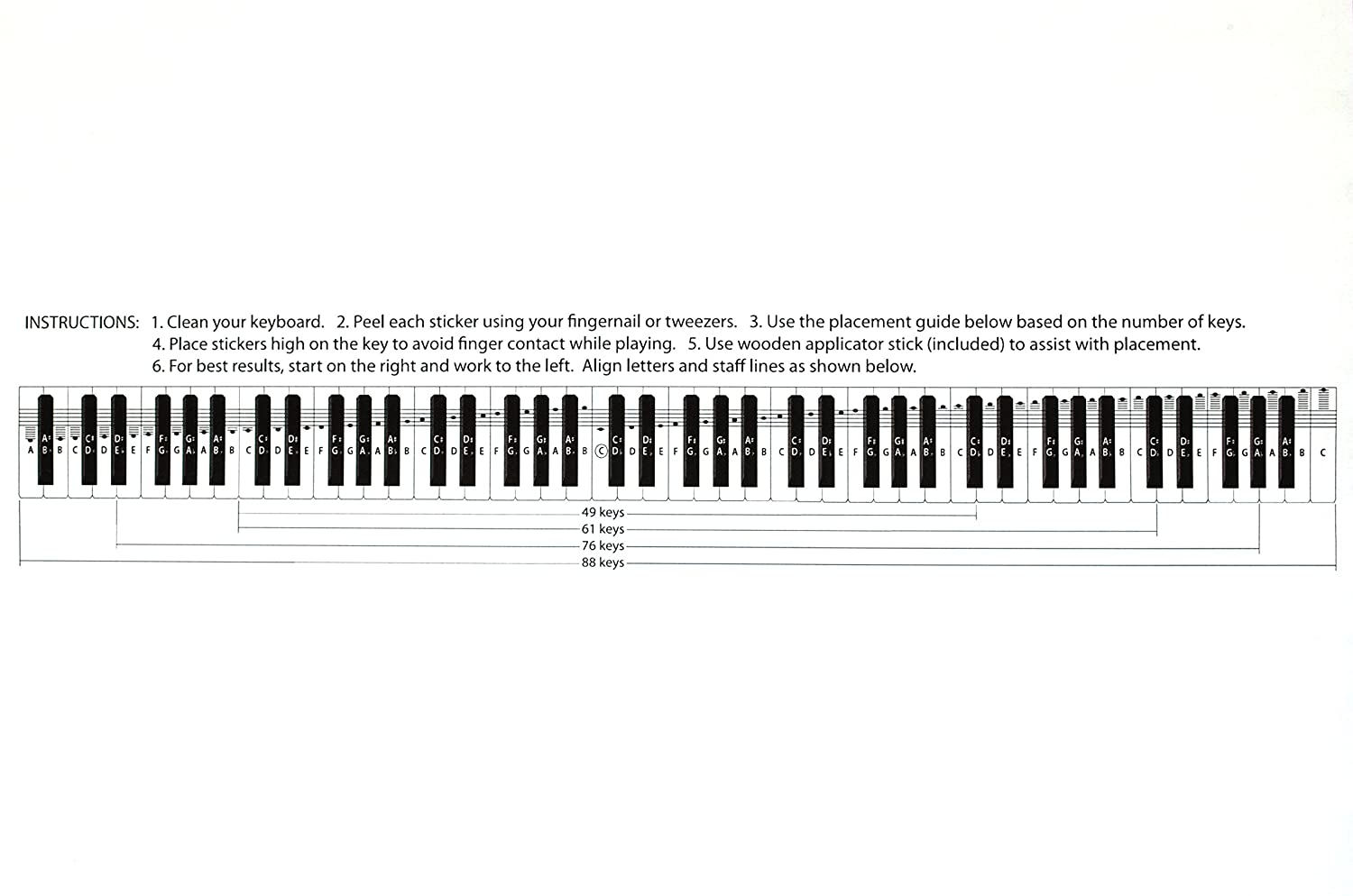Amazon deluxe piano keyboard note stickers for 49 61 76 amazon deluxe piano keyboard note stickers for 49 61 76 88 keys removable for white and black keys includes note position on grand staff ccuart Gallery