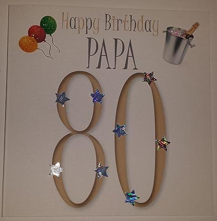 Happy birthday card papa 80th birthday handmade card amazon happy birthday card papa 80th birthday handmade card bookmarktalkfo Image collections