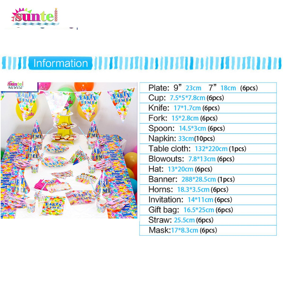 Amazon.com: Suntel Party Time 16 Different Item 84 Pieces Party ...