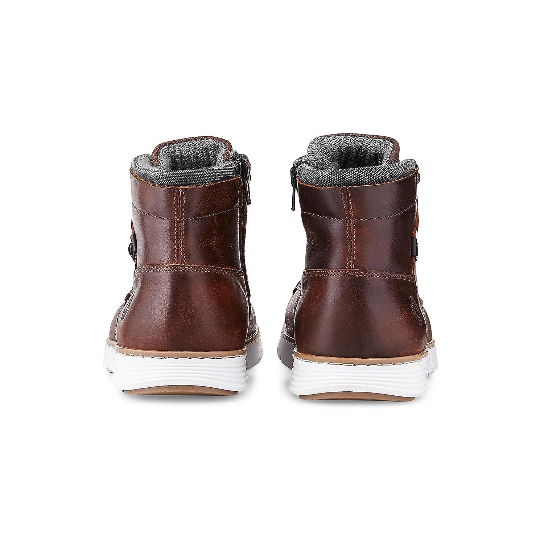 Cox Herren Trend-Stiefel aus aus aus Leder, Schnür-Stiefel in Braun mit sportlicher Lauf-Sohle c75d63
