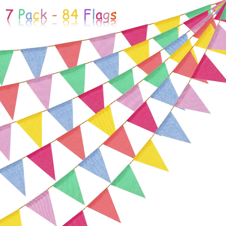 3.5M//Chaque Guirlande aovowog 84 Pcs Guirlande Fanions Drapeaux de Triangle en Toile de Jute Multicolore Decoration pour C/ér/émonie Mariage