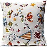 KINGSO Taie Case Housse De Coussin A Rayure Maison Decoration 40cmX40cm Impression-Fleur Papillon