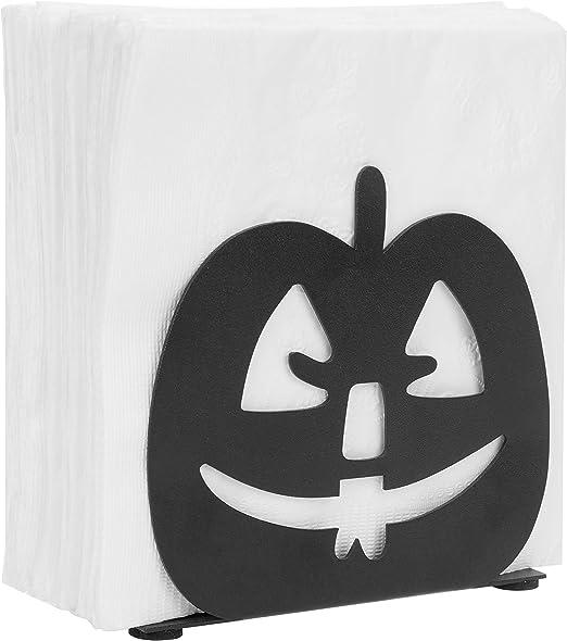 Black MyGift Pumpkin Jack-O-Lantern Design Metal Napkin Holder