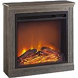 Ameriwood Home Bruxton Electric Fireplace, Medium Brown