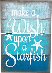 Beachcombers Wish Upon A Starfish Coastal Plaque Sign Wall Hanging Decor Decoration for The Beach Multi