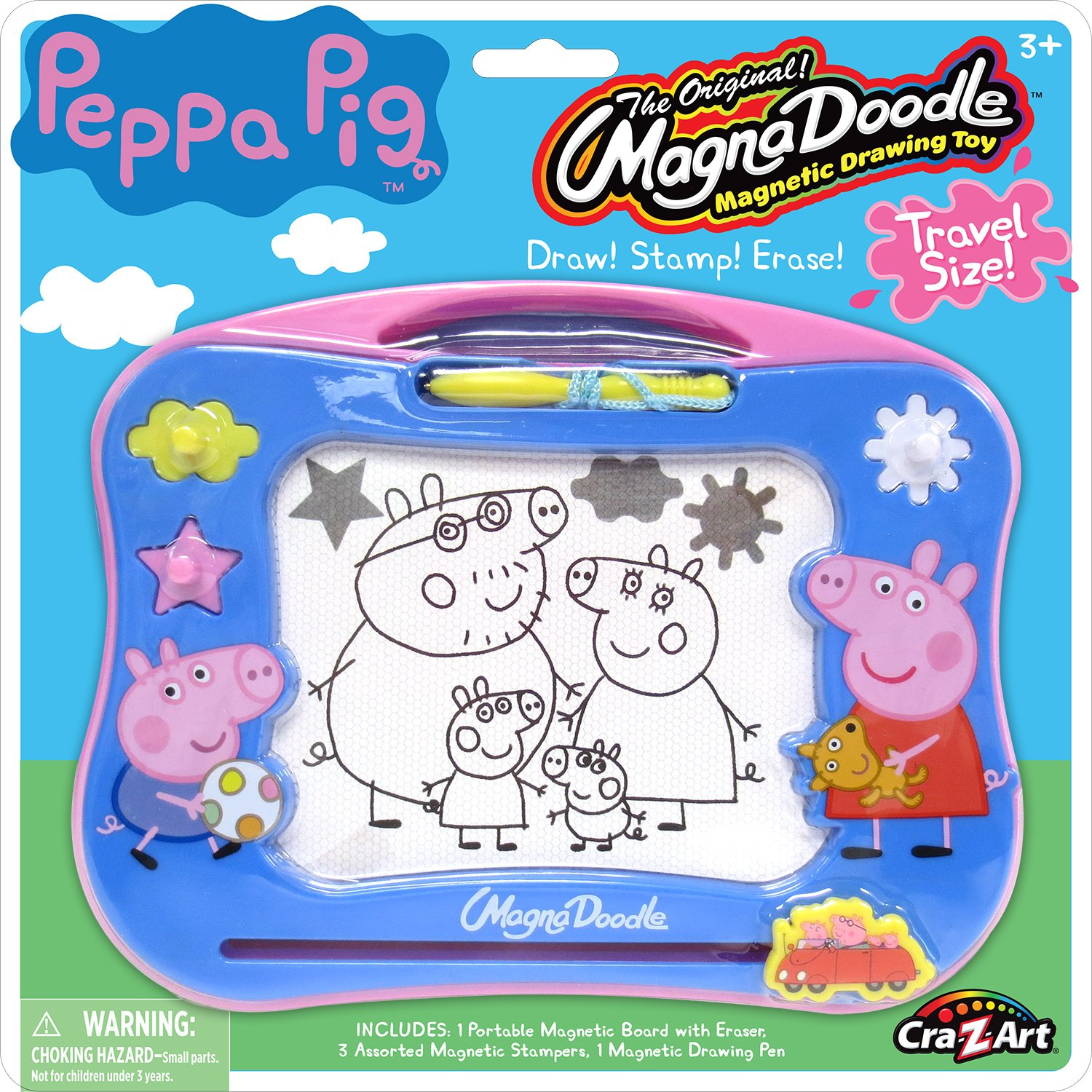 Amazon com cra z art peppa pig travel magna doodle magnetic screen drawing toy toys games
