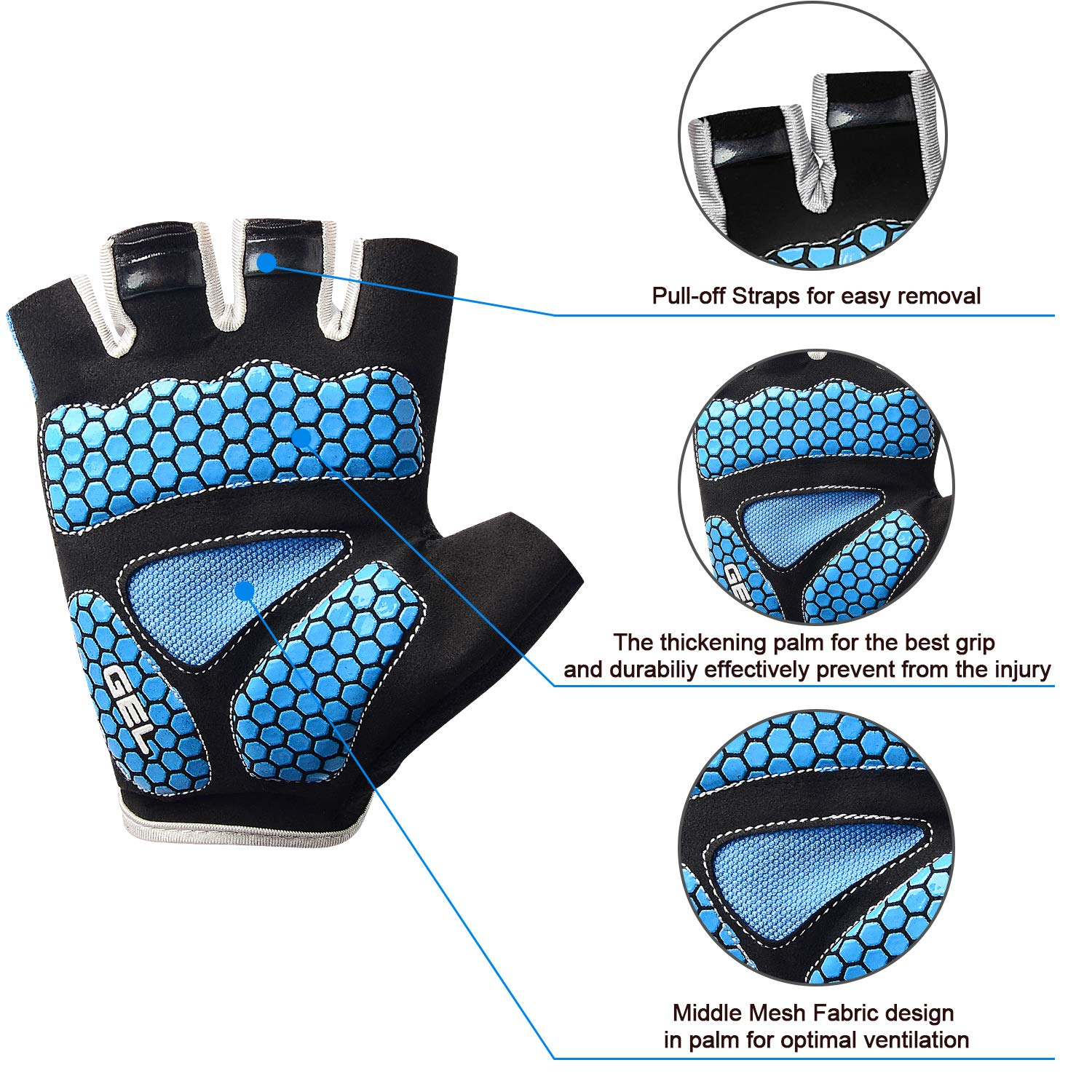 Cevapro Cycle Gloves Mountain Road Bike Gloves Half Finger Bicycle Gloves with Anti Slip Shock-Absorbing Gel Pad Cycling Riding Biking Gloves MTB DH Road Bicycling Gloves for Men Women