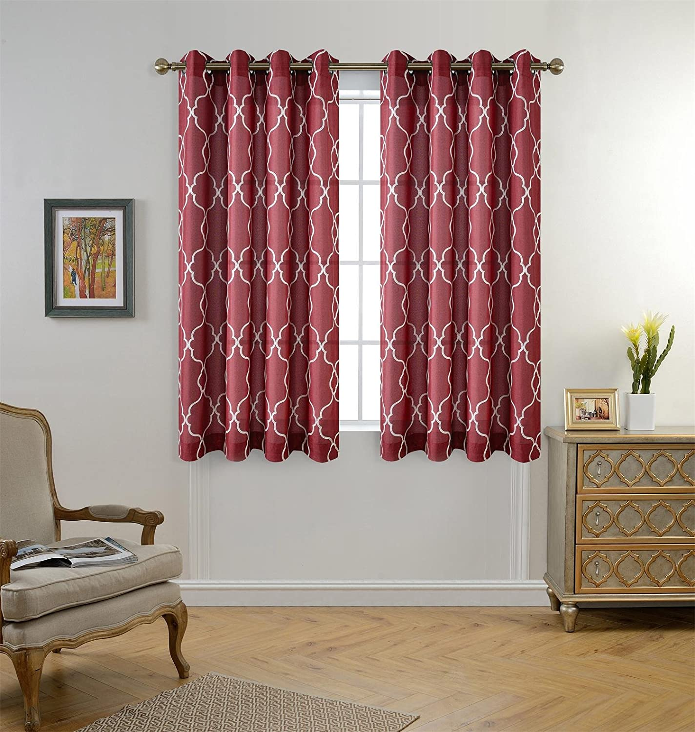 Red Sheer Shower Curtains Sets For Moroccan Style Bathroom With