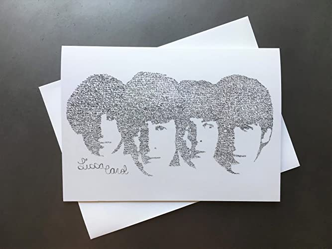 the beatles birthday card with envelope drawn from their birthday song lyrics contemporary unique music john - Birthday Card Art