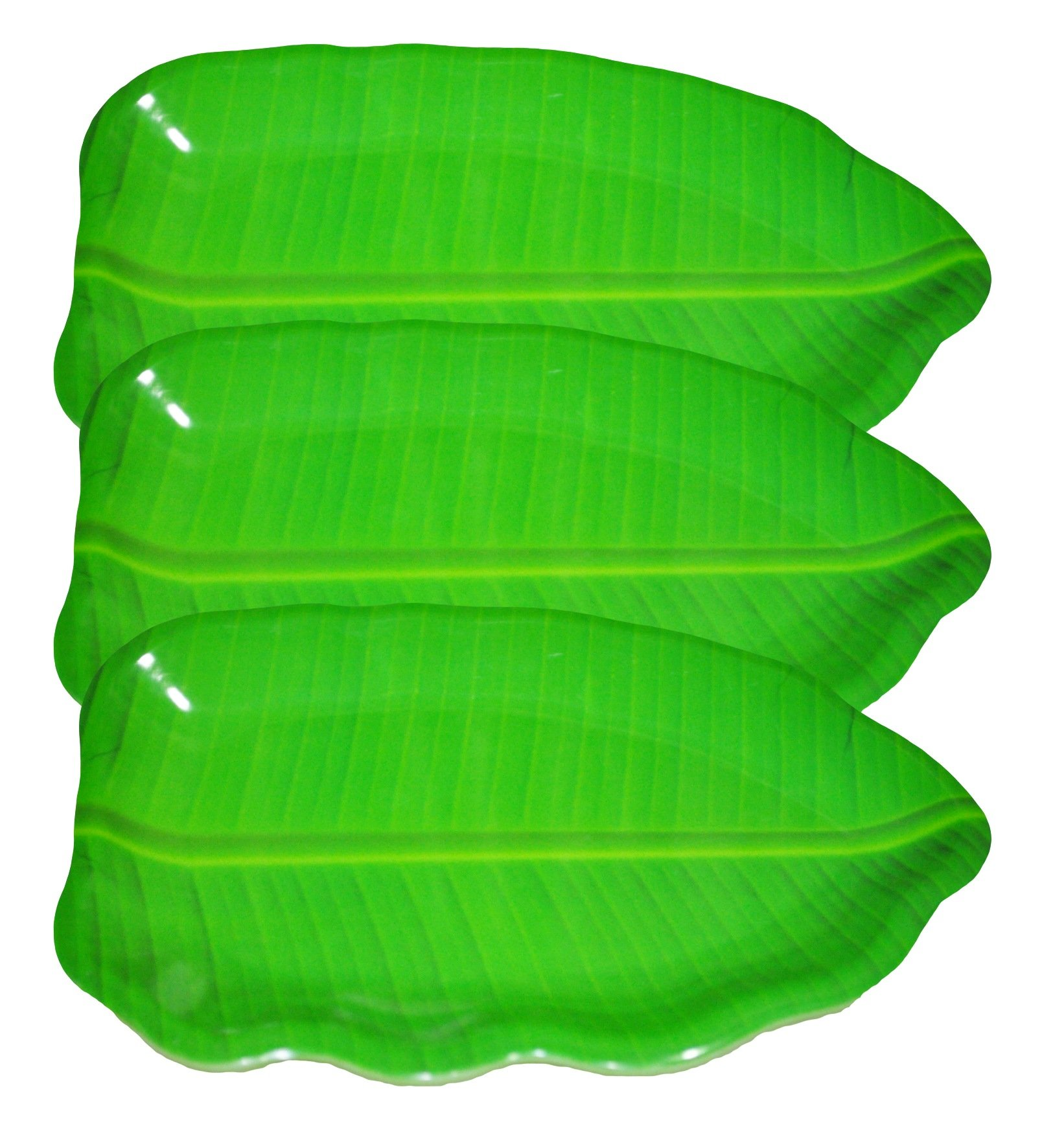 Hua You 14 inch Banana Leaf Shape South Indian Dinner Lunch Serving Melamine Platter Plate for All Occasions - 3 Pcs