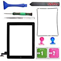New Black iPad 2 Digitizer Touch Screen Front Glass Assembly - Includes Home Button + Camera Holder + PreInstalled Adhesive with SlyPry tools kit by Prokit Adhesive