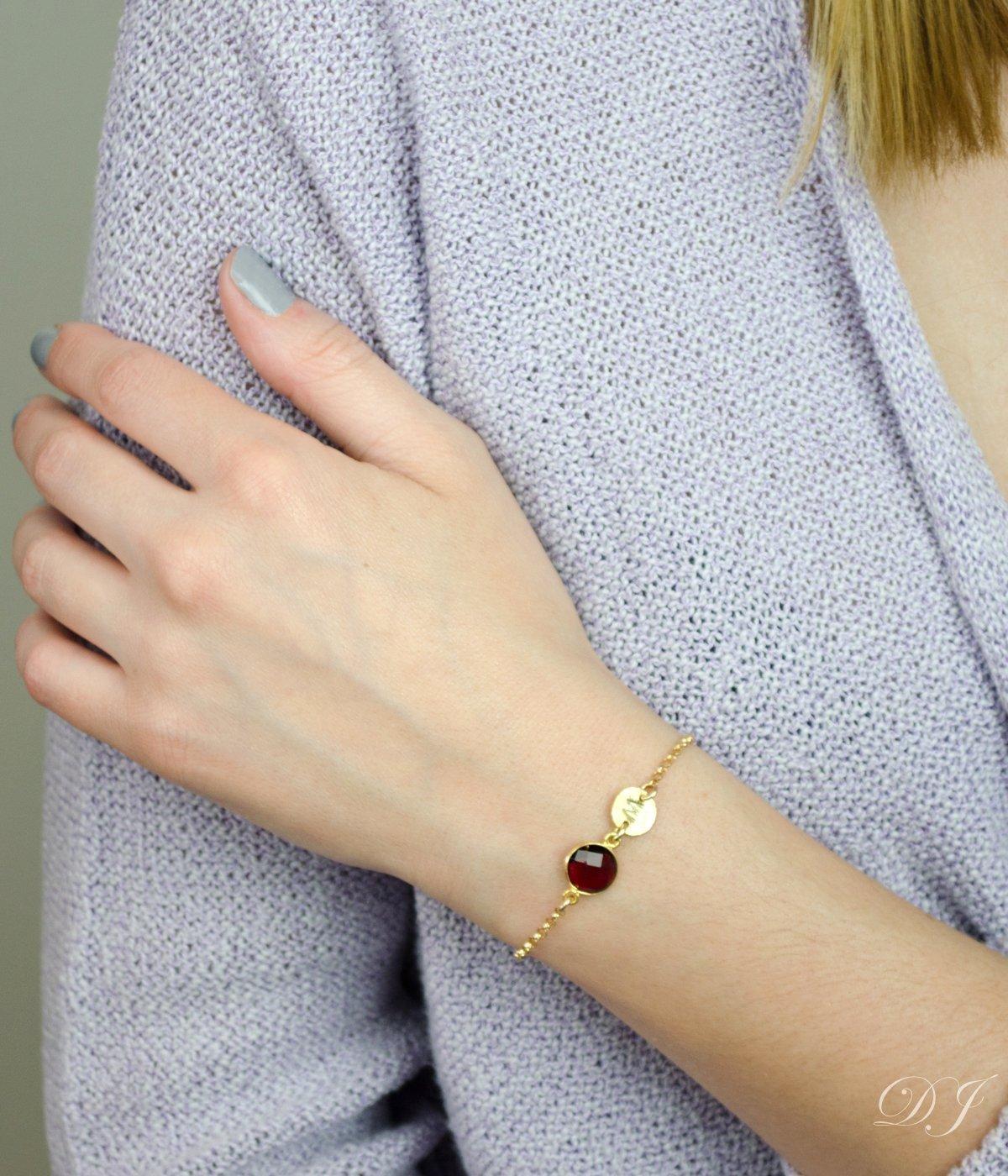 once more with love tiny silver heart January birthstone Garnet bracelet Tiny heart bracelet personalized mindfulness gift