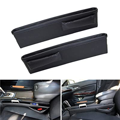 iJDMTOY (2) Black Leather Extra Long Car Side Pocket Organizers, Seat Catcher Holders Compatible With Key, Wallet, Phone, Sunglasses, etc: Automotive