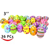 Joyin Toy 36 PCs Jumbo Plastic Printed Bright Easter Eggs, Over 3'' tall