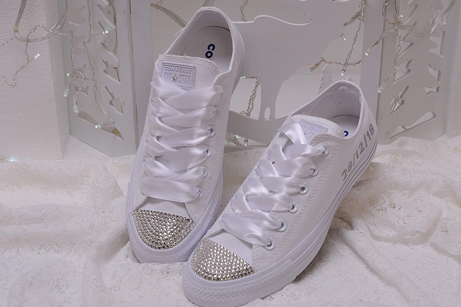 6482c4bd56071 Bling White Monogrammed Wedding Sneakers For Bride, Personalized Bridal  Trainers, Awesome Bride Tennis Shoes