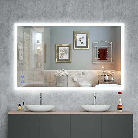 Amazon Com Venetio Smart Led Bathroom Mirror With Lights 40 X 24 Inch Fogless Backlit Design Large Frameless Lighted Makeup Mirror Touch Screen Dimmable Decor Wall Mounted Vanity Mirror Horizontal Vertical Home
