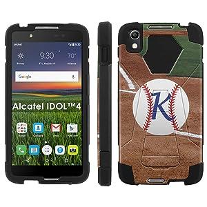 Alcatel One Touch IDOL 4 [Nitro 4/49] Phone Cover, Baseball Monogram K - Black Hexo Hybrid Armor Phone Case for Alcatel One Touch IDOL 4 [Nitro 4/49]